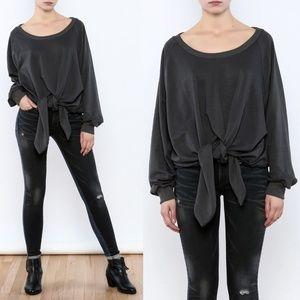 Nude Label Velvet Tie Front Sweatshirt